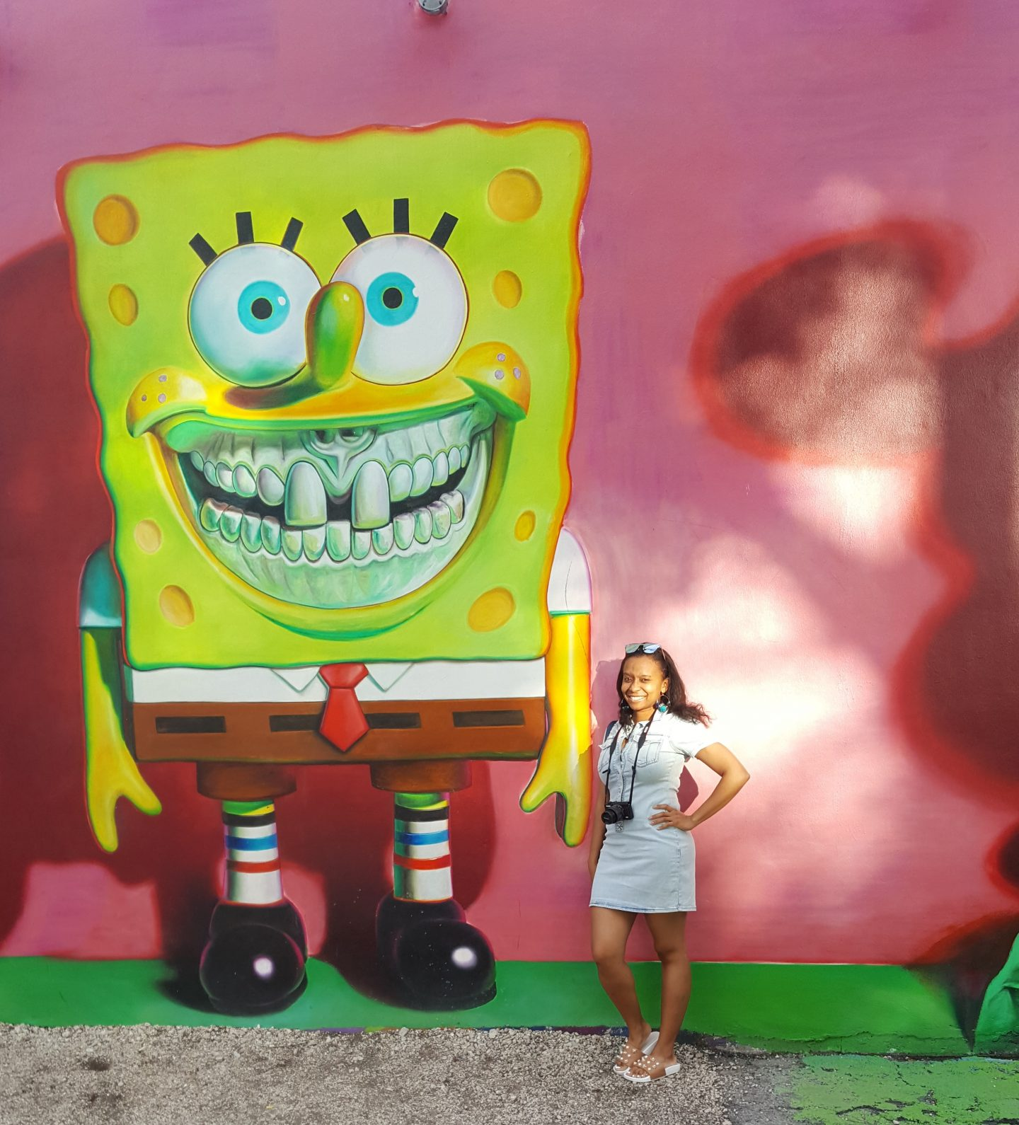 Wynwood Walls, Wynwood Walls Miami, Miami Art, Miami visuals, Miami murals, Miami US, girl at Wynwood Walls, Miami street art, staceessmoothie, stacee's smoothie, stacees smoothie, spongebob, sponge bob, spongebob square pants, sponge bob square pants, nickelodeon, cartoon